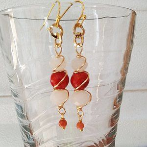 B2G1F! Femme +Classy Genuine Orange Coral Earrings